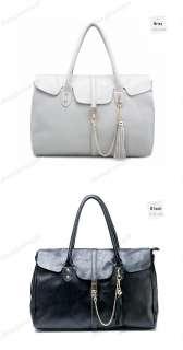 Real Genuine Leather Purse Satchel Shoulder Bag Handbag Tote Tassel
