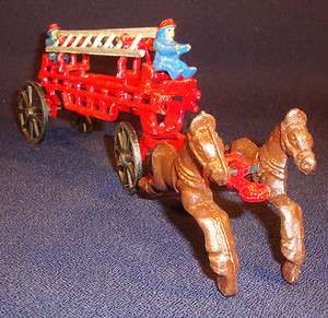 Cast Iron Fire Department Double Horse & Ladder Wagon, 2 Firemen