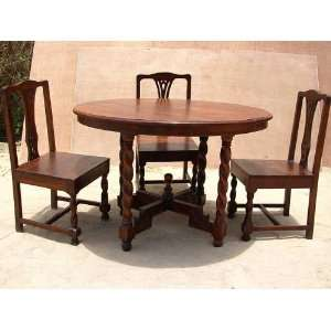 Solid Wood Round Dining Breakfast Kitchen Dinette Table Furniture