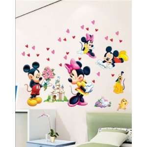 Mickey Mouse Minnie Pluto Wall Sticker Pink Hearts Decal