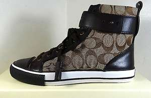 COACH FOSTER SIGNATURE KHAKI HIGH TOP SNEAKER SHOES 5 to 11