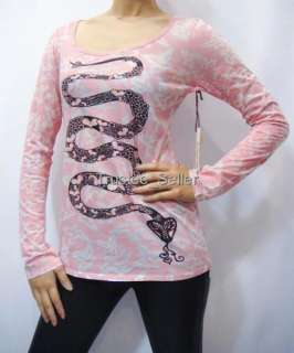 BUTTERFLY DROPOUT B Button Love Snake Shirt Top Tunic