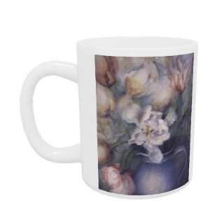Tulips in a blue jug, white parrot and china pink by Karen