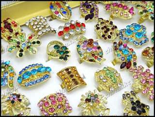 wholesale jewelry lots 15pcs CZ Rhinestone gold mix style Rings
