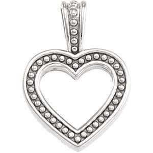 Clevereves 14K White Gold Pendant Heart Shaped Pendant