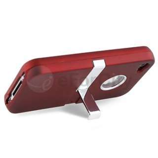 Red w/Chrome Stand Case Cover+LCD Film+Wall+Car Charger For iPhone 4