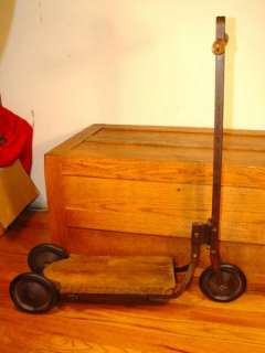 Antique Wood & Steel Childs Toy Scooter