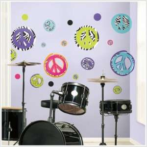 Zebra Print Peace Signs Wall Decals Kids Sticker