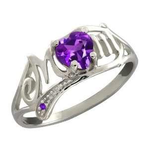 Ct Genuine Heart Shape Purple Amethyst Gemstone Sterling Silver Ring
