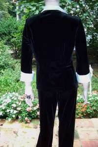 STRETCHY ELEGANT BLACK VELVET/WHITE SATIN TOP/PANTS SUIT M NWT
