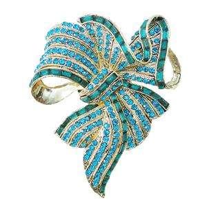 Pretty Flower Bowknot Brooch Pin Blue Swarovski Crystal Bow