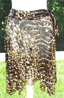 GOTTEX BROWN BLACK ANIMAL PRINT POLYESTER SPANDEX COVER UP TOP BLOUSE