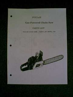 POULAN CHAIN SAW 71A PARTS MANUAL