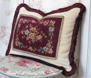 Pillow Hand Stitched ANTIQUE Needle PETITE POINT Wire Lace Trim