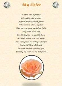 SISTER personalised poem (Laminated Gift)