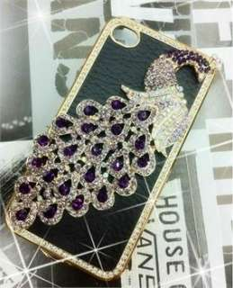 New Blue leather Luxury Peacock Rhinestone Case Cover for iPhone 4 4G