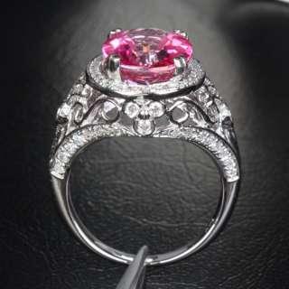 PINK TOPAZ 14K WHITE GOLD .42ctw DIAMOND Engagement RING 6.26g
