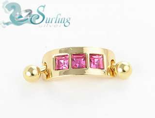 18K GOLD PLATED PINK CHANNEL BELLY NAVEL RING CAP 14G