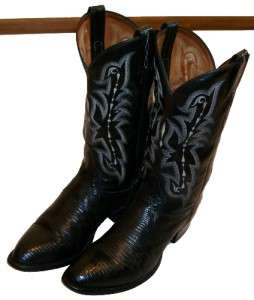 LEAHER & EXOIC REAL EJU LIZARD COWBOY BOOS MENS Size 10 D  