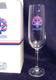 Vancouver Expo Bohemia crystal champagne flutes MIB
