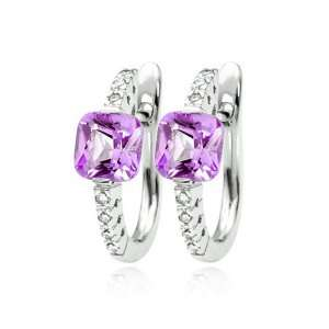 14K White Gold Cushion Cut Amethyst & Diamond Hoop Earrings Diamond