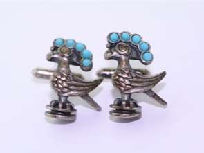 Native American Bird Sterling Turquoise Cuff Links