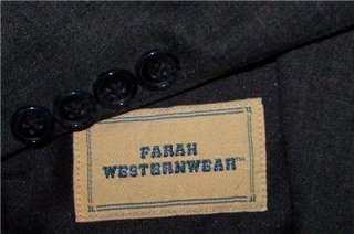 42R Farah CHARCOAL WESTERN COWBOY 2 Button Striped Business Suit men