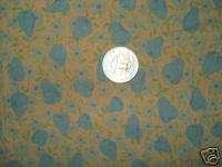 Antique Vintage Cotton Fabric Blue Pear Fruit Novelty