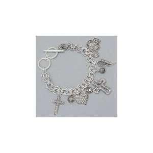 Silver Tone Cross, Angel Wings & Heart Charm Bracelet