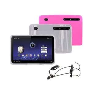 CLEAR Hard Plastic Case & PINK Silicone Soft Case + RF3