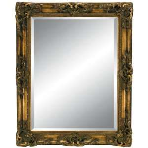 Ornate Elegance Large Wall Mirror in Dark Gold: Home