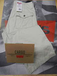 LEVIS MENS LOOSE FIT STRAIGHT LEG ZIP FLY CARGO PANTS SILVER BIRCH