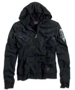 HARLEY DAVIDSON® WOMENS BLACK COTTON LONG SLEEVE HOODIE 96101 11VW