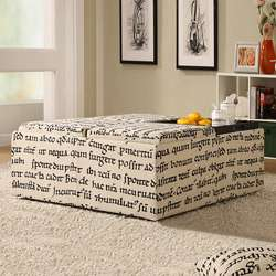 MODERN STORAGE OTTOMAN COCKTAIL TABLE BEIGE WITH LATIN SCRIPT PRINT