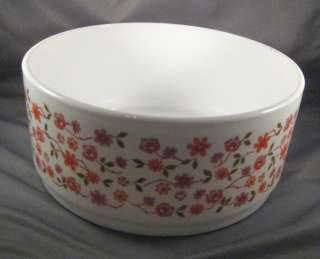 Arcopal Large Round Serving Bowl Orange/Mauve Flowers