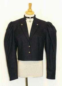 WOOL BLUE German SHORT Fitted Princess Dress JACKET 8 S