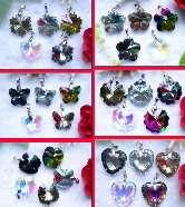 1Set Heart Flower Inside Lampwork Glass Beads Necklace Earring Set