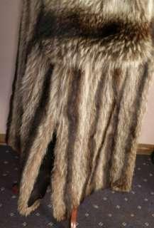 VTG Genuine Raccoon Fur Directional FULL LENGTH coat Stroller Jacket