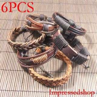 Wholesale lots 6pcs ethnic tribal genuine leather bracelets L42