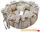Handmade Leopard Print Pet Dog Cat Pet Bed House with Ruffles 100% PP