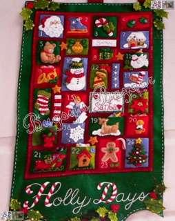 Bucilla HOLLY DAYS Felt Christmas Advent Calendar Kit