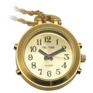 Ladies Gold Colored Tel Time Pendant Talking Watch with Golden Chain