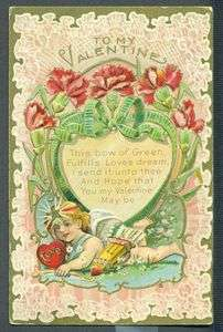 VALENTINE Cherub Heart Flowers FULFILLS LOVES DREAM Vintage Postcard