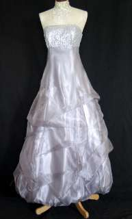 McCllintock 33575 Grand Silver Full Length Organza Satin Dress 7