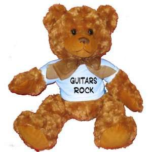 Guitars Rock Plush Teddy Bear with BLUE T Shirt Toys