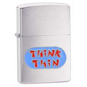 Zippo Custom Lighter   Novelty Funny Humor Saying Think Thin Emblem