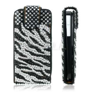 BLACK ZEBRA LEATHER BLING FLIP CASE COVER FOR NOKIA E72