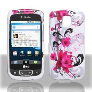 LG Optimus T P509 Red Flower on White Hard Case Snap on