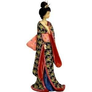 14 Hand Painted Geisha Figurine Statue w/ Pastel Sash