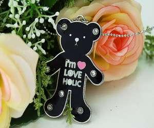 ADORABLE ENAMELED BLACK LOVE HOLIC GLOOMY TEDDY BEAR PENDANT NECKLACE